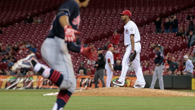 Cleveland Indians shortstop Francisco Lindor (12), foreground, rounds the bases after hitting a solo home run in the 12 inning during the MLB game between the Cleveland Indians and the Cincinnati Reds, Wednesday, May 18, 2016, at at Great American Ball Park.