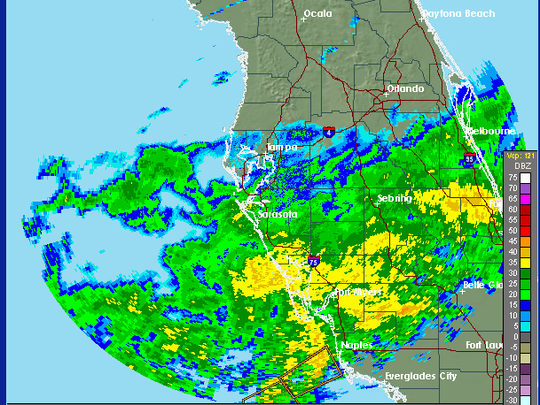 This is a look from a National Weather Service radar of the rain pummeling Southwest Florida about 5 p.m. Wednesday, Jan. 27, 2015.