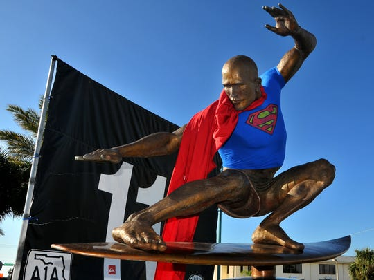 Some people think Kelly Slater is Superman, When the Cocoa Beach native won his 11th world championship, fans adorned his bigger than life bronze statue accordingly.