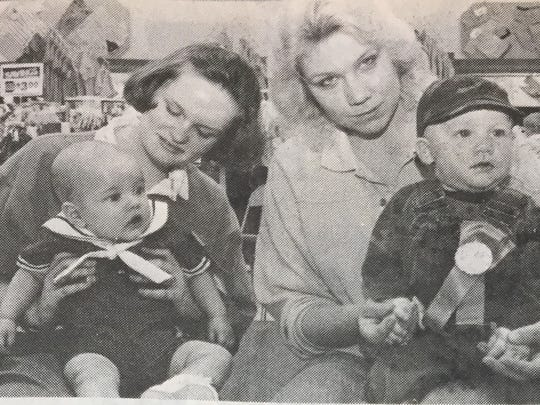 Wal-Mart held their Baby Contest for the second year in March 1988 with 40 babies participating. Winning in the 0-12 month category was Johnathan Pierson (left), son of John and LaDon Pierson of Pride. Second place went to Aaron Miller (right), son of Beverly Miller of Henderson