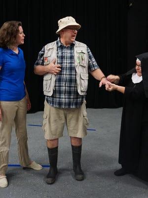 "Angela Dill, Chris Goeckel and Diana Lett in rehearsal for Starlight Dinner Theater's ""Farce of Habit."""