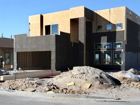 A Tropicana home under construction last week at the corner of Fountains HIlls and La Puesta in West El Paso.