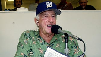 Bob Uecker works during a Brewers game against the Pittsburgh Pirates at Miller Park.