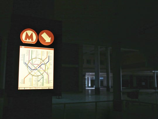 A backlit map of the Moscow subway system is seen inside