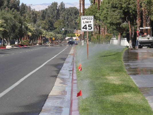Sprinklers and grass along a road.jpg