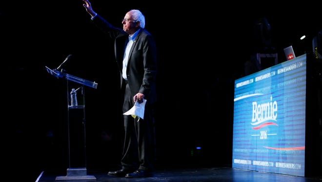 Democratic presidential candidate Sen. Bernie Sanders, I-Vt., waves during a fundraiser at the Avalon Hollywood, Wednesday, Oct. 14, 2015, in Hollywood, Calif.