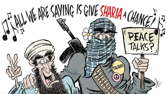 The Taliban opened an office in the Persian state of Qatar in June 2013. The United States and the Taliban scheduled peace talks that the U.S.-backed Afghan government didn't want to participate in, which prompted this cartoon.