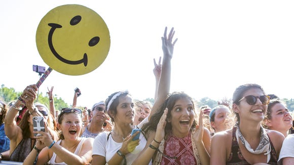 Fans cheer as Hozier performs on The Lawn stage at Firefly last month.