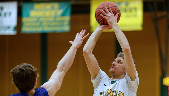 St. Norbert College guard Ben Bobinski (22) is averaging 40.4 percent (112-for-277) from 3-point range since his sophomore season.