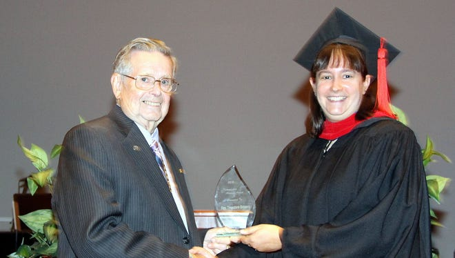The Rev. Theodore E. Bowers of Lake Meade, East Berlin, recently received the 2016 Distinguished Alumnus Award from the Rev. Katie Erickson, alumni coordinator.