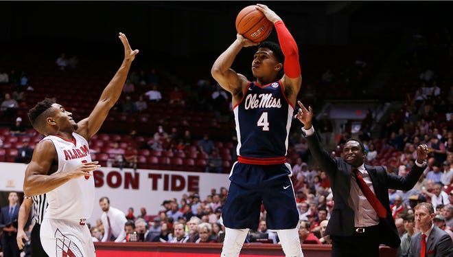 Ole Miss point guard Breein Tyree (4) committed six turnovers in Wednesday's loss to Alabama.