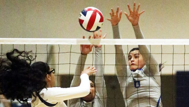 Leslie Esparza, left of Fabens tries getting the ball past Ashley Vargas, 14, and Gaby Gandara, 6, of Clint earlier this sesaon in Fabens.