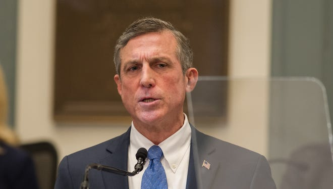 Gov. John Carney gives his State of the State address in the House Chambers on Thursday, Jan. 18, 2018.