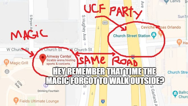 The Magic tweeted something UCF fans weren't so fond of... in the middle of their block party.