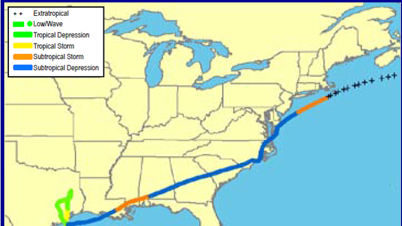 Track of Tropical Storm Allison