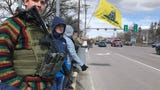 Gun rights advocates rallied on Shelburne Road in South Burlington, Vermont, on Saturday, April 7, 2018, bearing AR-15 rifles and handguns.