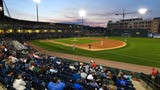 The Greenville Drive plays against the Rome Braves during the first home game of the season on Thursday, April 12, 2018.