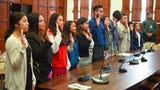 Students sworn in for a one-day term as a senator during Island Leadership Day