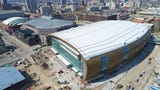 Check out recent drone footage of the nearly-complete Milwaukee Bucks arena.