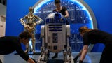 R2-D2, C-3PO and BB-8 are unpacked and put into place for the upcoming Star Wars and the Power of Costume exhibit at the Detroit Institute of Arts.