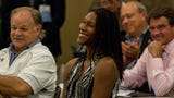 Michelle Snow reacts after being announced as 2018 inductee you Florida Sports Hall of Fame