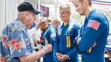 Pearl Harbor survivor Frank Emond celebrates his 100th birthday with the Blue Angels in Pensacola