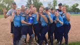 The Pine Plains softball team celebrates after winning a third straight Section 9 Class C title.