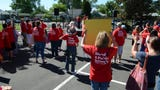 Teachers and students say a better education needs to start at the ballot box with voters. They gathered for a rally at the Washoe County Complex on June 2, 2018.