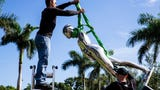 """Art handlers from Artex dismantle and pack one of six figures from Ernest Tino Trova's stainless steel sculpture titled """"FM/6' Walking Jackman"""" outside of Artis-Naples on Monday, June 11, 2018."""