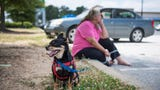 Barbara Keller has been homeless since May. She has been living out of her car because homeless shelters won't let her bring her therapy dog, Cruz.
