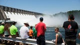 Floodgates open for testing at Hartwell Dam on Tuesday, June 19, 2018