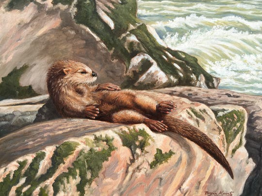 Artist Bryan Koontz captured this wild otter on a rock in one of his paintings.