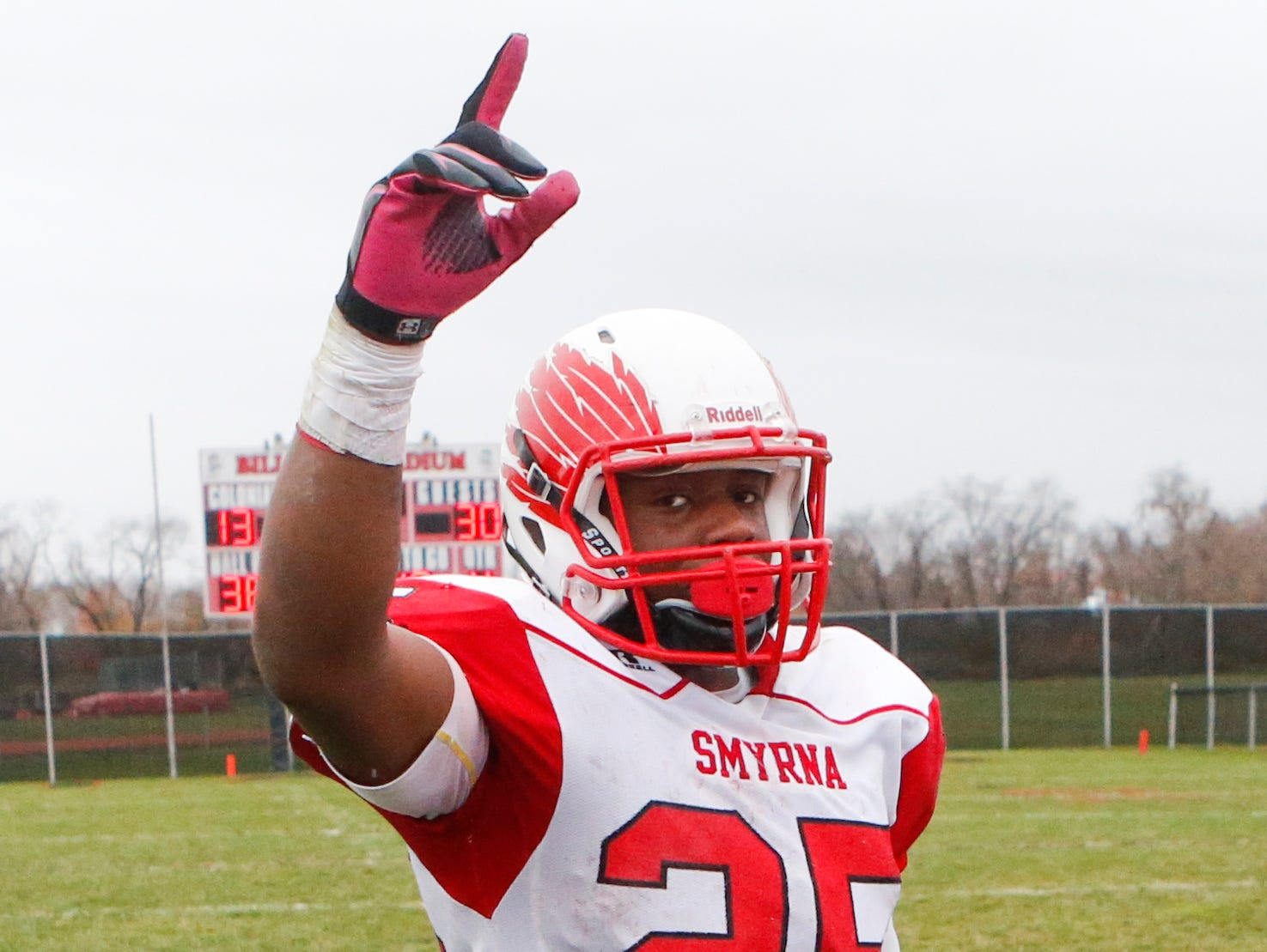 Smyrna's Will Knight celebrates after his Eagles' 30-13 win against William Penn in a semifinal of the DIAA Division I state tournament at Bill Cole Stadium Saturday. Knight finished with 270 yards on 32 carries and 4 TDs.