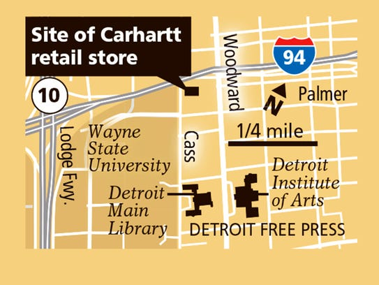 Locator map of new Carhartt retail store in Midtown.