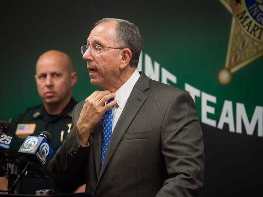 Martin County Sheriff William Snyder, flanked by Uniform Patrol Division Captain John Budenseik, is shown at an Oct. 30 news conference.
