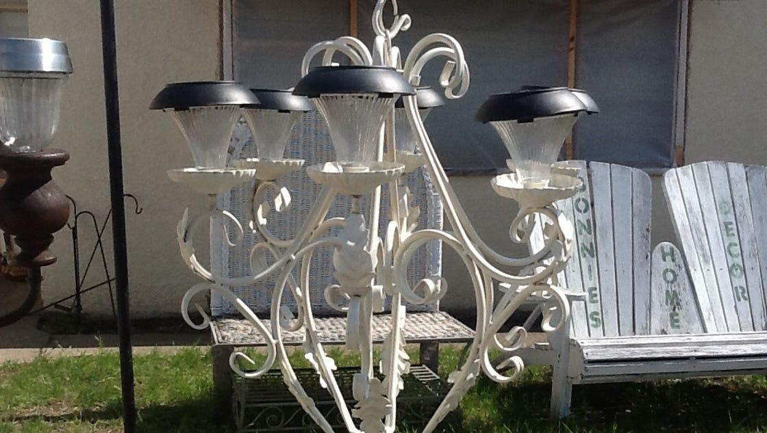 Diy solar chandelier gives outdoor space a soft glow - Outdoor chandelier diy ...