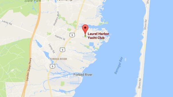 The location of the Laurel Harbor Marina & Yacht Club in Lacey Township.