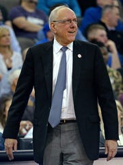 Syracuse Orange head coach Jim Boeheim reacts during