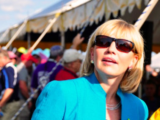 Lt. Gov. Kim Guadagno at the Quick Chek NJ Festival of Ballooning on Friday, July 25, 2014. She took a balloon ride that ended with a soft landing in a cornfield. (Governor's Office photo)