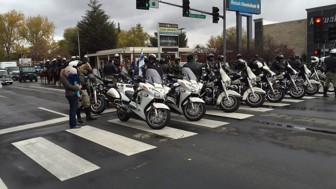 Nevada Highway Patrol members gear up for the Nevada Day Parade on Nov. 1, 2014, in Carson City.