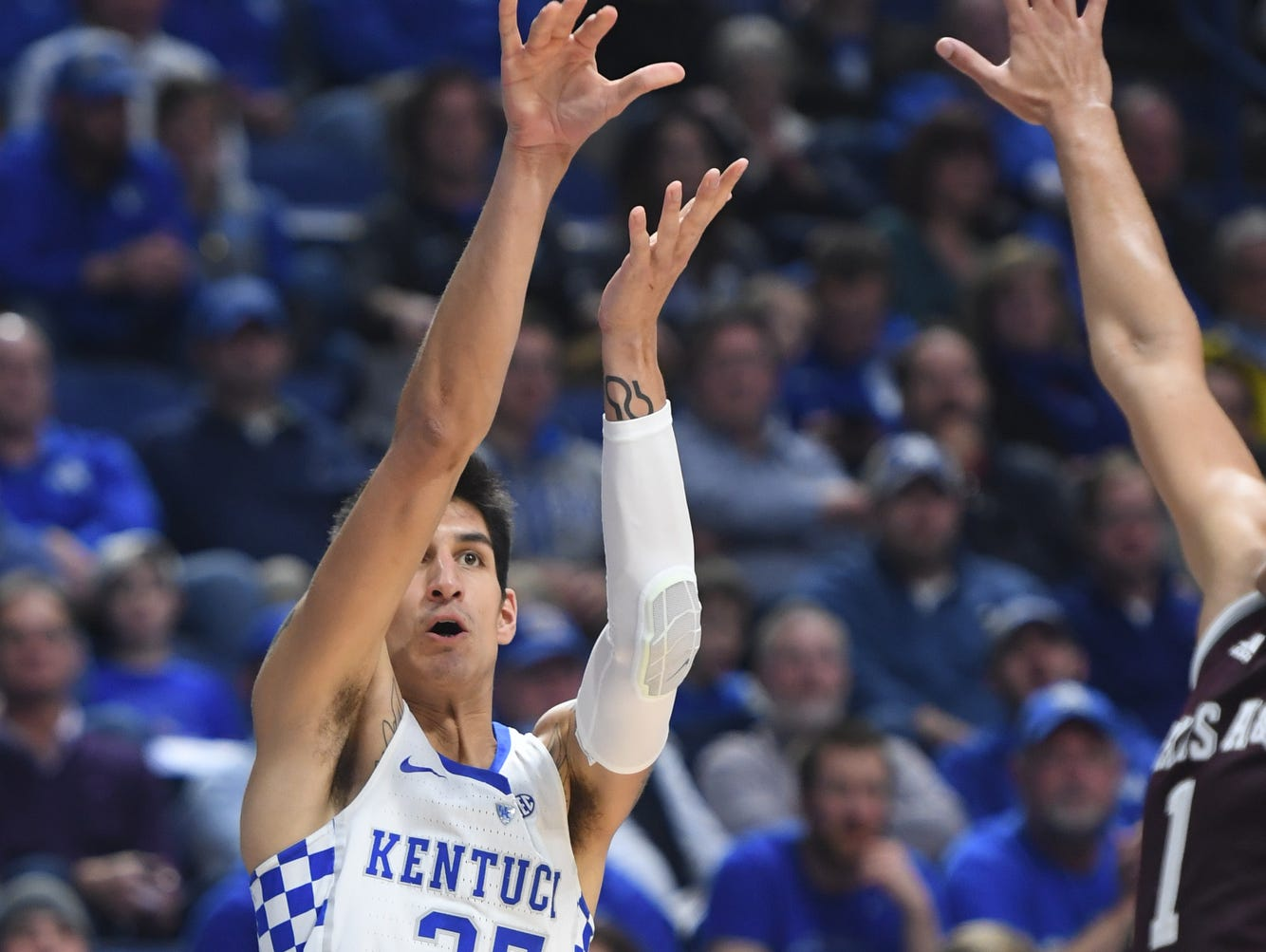 UK's Derek Willis shoots a three during the University of Kentucky basketball game against Texas A&M at Rupp Arena in Lexington, KY on Tuesday, January 3, 2017.