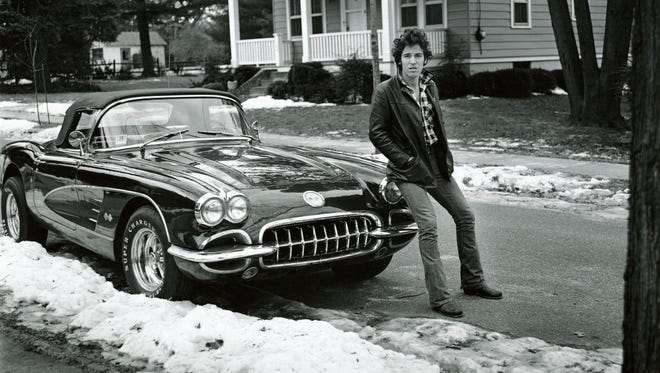 """Bruce Springsteen as photographed by Frank Stefanko in """"Corvette Winter"""". The image was made during  the """"Darkness on the Edge of Town"""" photo shoot."""