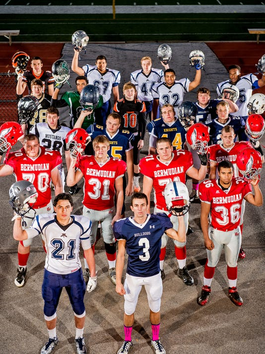 First row, left to right: Dallastown's Addison Quinones and West York's Ross Campbell, both GameTimePA's football players of the year. Second row, left to right: Bermudian Springs' Noah Hakes, Colton Dull, Sam McCollum, Michael Ogle (36) and Wyatt Gearhart. Third row, left to right: South Western's Drew Hartlaub, Eastern York's Garret Ishman, Eastern York's Lucas Barshinger, West York's Logan Stover and West York's Brett Kinneman. Fourth row, left to right: Biglerville's Nate Mentzer, Fairfield's Antijuan Washington, York Suburban's Collin Mailman, Dallastown's Kristoffer Phennicie and Dallastown's Justin Tindull. Fifth row, left to right: Hanover's Dylan Krieger, Dallastown's Traye Noye and Dallastown's William Reilly.  Not pictured: Gettysburg's Giovanni Almanza-Alvarado, Central York's Terrance Carter, Dallastown's Jacob Garrity and Dallastown's John Middleton.  GameTimePA's all-star football players. Picture taken Saturday, Nov. 8, 2014, at Central York. Chris Dunn Ñ Daily Record/Sunday News