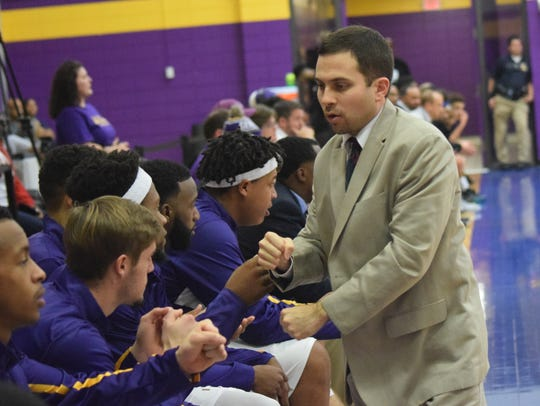 Larry Cordaro coaches his team during a game in 2015.