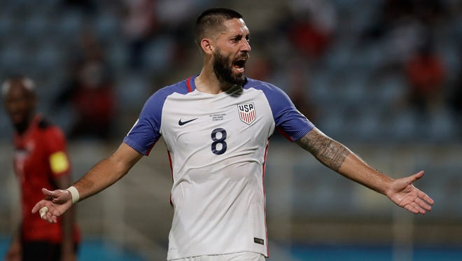 The U.S.'s Clint Dempsey reacts during a 2018 World Cup qualifying soccer match against Trinidad and Tobago on Oct. 10, 2017.