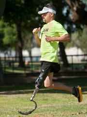 Warren Castleberry using his running leg at Plaza Park