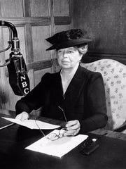 Eleanor Roosevelt broadcasts on NBC radio in 1948.