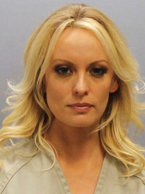 Photo provided by the Franklin County Sheriff's Office shows porn actress Stormy Daniels. Daniels was arrested at a Columbus, Ohio strip club and is accused of letting patrons touch her in violation of a state law, her attorney said early Thursday.