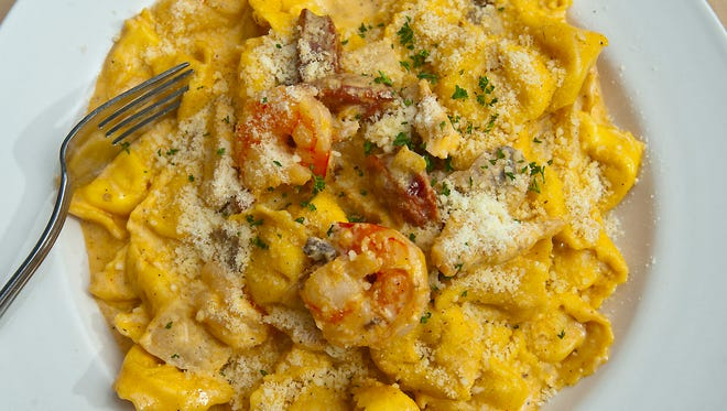 The Cajun tortellini at J. Harrod's is made with garlic, mushrooms, onions, cheese tortellini, Andouille sausage, shrimp, grilled chicken and Cajun cream sauce and topped with parmesan cheese and a parsley garnish.Jan. 18, 2018