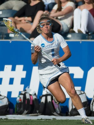 North Carolina defender/midfielder Mallory Frysinger in action during the first half of the semifinals in the NCAA Division I women's lacrosse tournament against Duke last season.